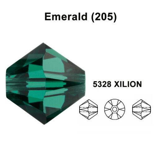green Genuine Swarovski 5328 XILION Bicone Beads *All Sizes EMERALD 205