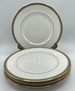"Royal Doulton Clarendon Dinner Plates Set Of 6 10 5/8"" Gold Trim W Aqua"