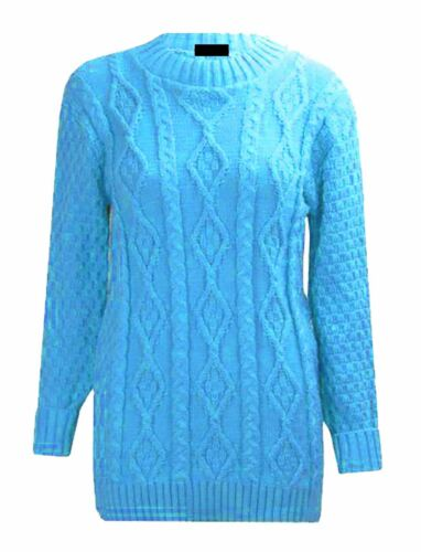 Women Chunky Cable Knitted Jumper Top Ladies Long Sleeve Casual Pullover Sweater