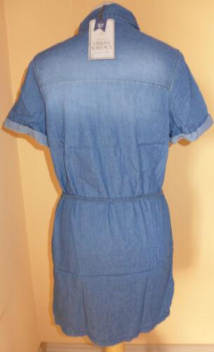 M S L NEU!!! XS URBAN SURFACE Damen Jeanskleid Hemdkleid blau Gürtel Gr