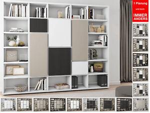 Toro Bucherregal Mit Turen Wohnzimmer Regalsystem Regalwand Extrem Belastbar Ebay