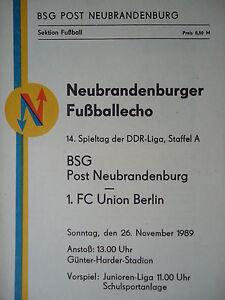 Programme 1989/90 BSG post Neubrandenburg-union Berlin  </span>