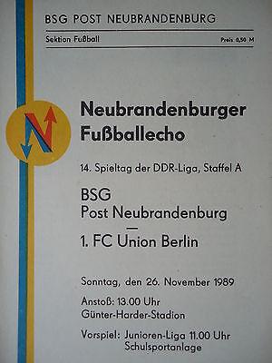 Programm 1989//90 BSG KKW Greifswald Union Berlin