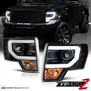 2014 F150 Headlights >> Details About 2009 2014 Ford F150 Cyclop Optic Led Tube Matte Black Headlights