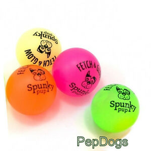 2-Pack-Spunky-Pup-Glow-in-Dark-Ball-SMALL-2-Latex-Rubber-Buddys-Fetch-Dog-Toy