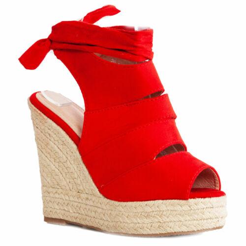 Scarpe donna sandali zeppa cinturino fondo corda espadrillas lacci TOOCOOL 20-18