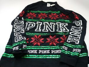 Victoria/'s Secret PINK Red Silver Green Bling Ugly X-Mas Campus Crew Shirt