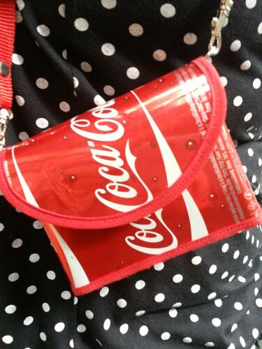 Coke Red, Med Recycled can bag-Handmade from Coca-Cola  Cans