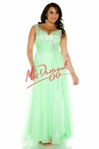 NWT-Mac-Duggal-65041f-KeyLime-Size-24W-Chiffon-beaded-long-formal-evening-gown