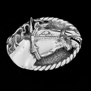 Artisan-Sterling-Silver-Horse-Belt-Buckle-from-Taxco-Mexico