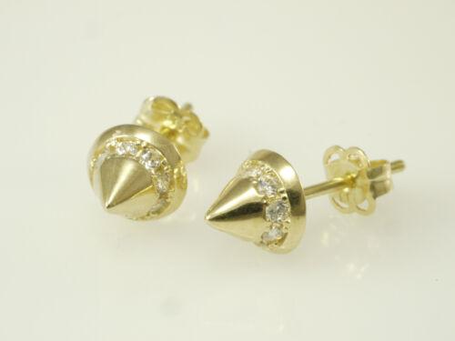 585 Gold 1 Paar Kegel  Ohrstecker 14 Karat  Gelbgold  Zirkonia Ohrring