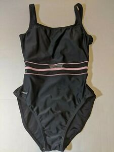 Speedo Swimsuit Sz 12 Black Mesh Middle One Piece Pink Accents