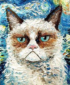 GRUMPY-CAT-VAN-GOGH-STARRY-NIGHT-Art-Image-Gloss-Print-Poster