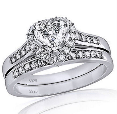 Women/'s 925 Sterling Silver Heart Shaped CZ Halo Engagement and Wedding Ring Set