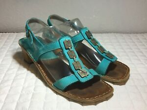 Details about Tsonga Womens US9 EU40 Strappy Teal Leather 2