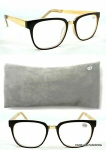 5851ca21a8 Details about MT500 Brown   Gold Geek Nerd Framed Retro Reading Glasses    Metal Sprung Pouch