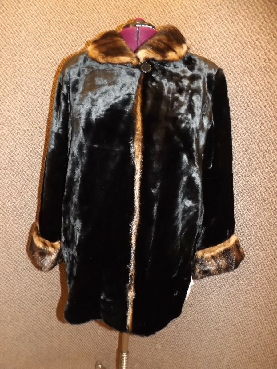 Eye Popping  NEW NWT Glossy Seal & Mink Faux Fur Coat Womens 2X Upscale Quality