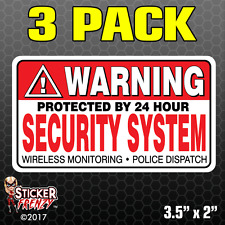 3 Pack WARNING Security System Stickers Home Alarm Decal Vinyl Window #FS031