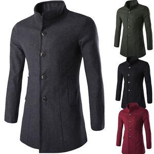 Fashion Winter Men's Trench Coat Warm Thicken Jacket Peacoat Long Overcoat Tops