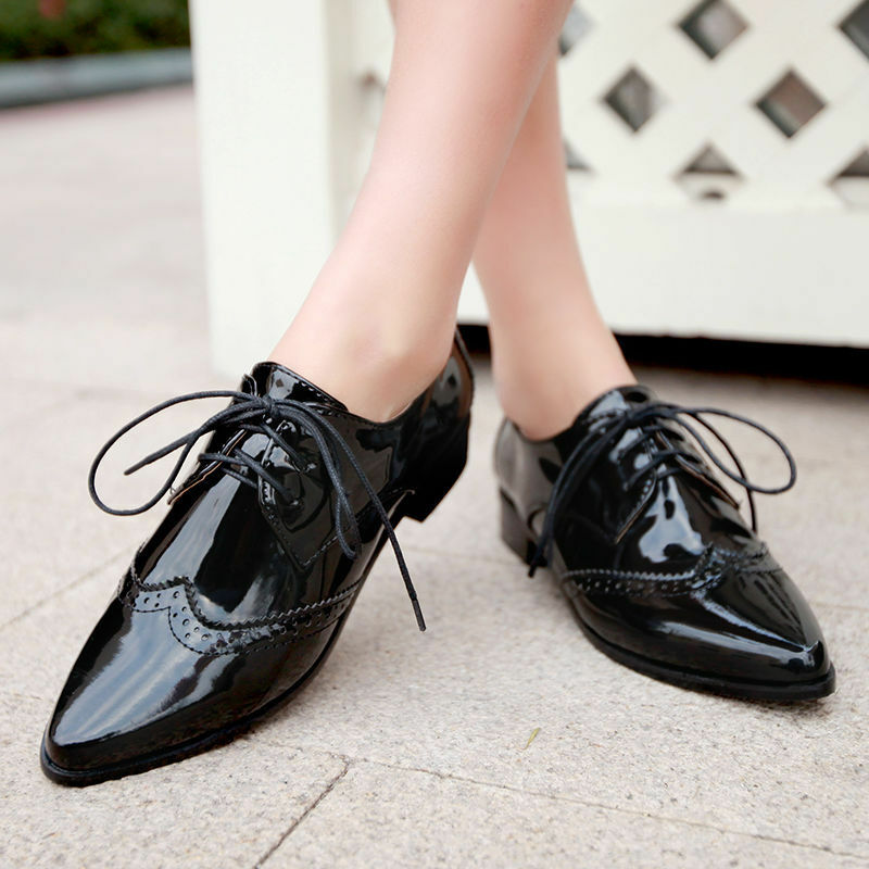 Womens Low Heels Fashion Formal Oxfords Pointy Toe Lace Up shoes Brogues Flats