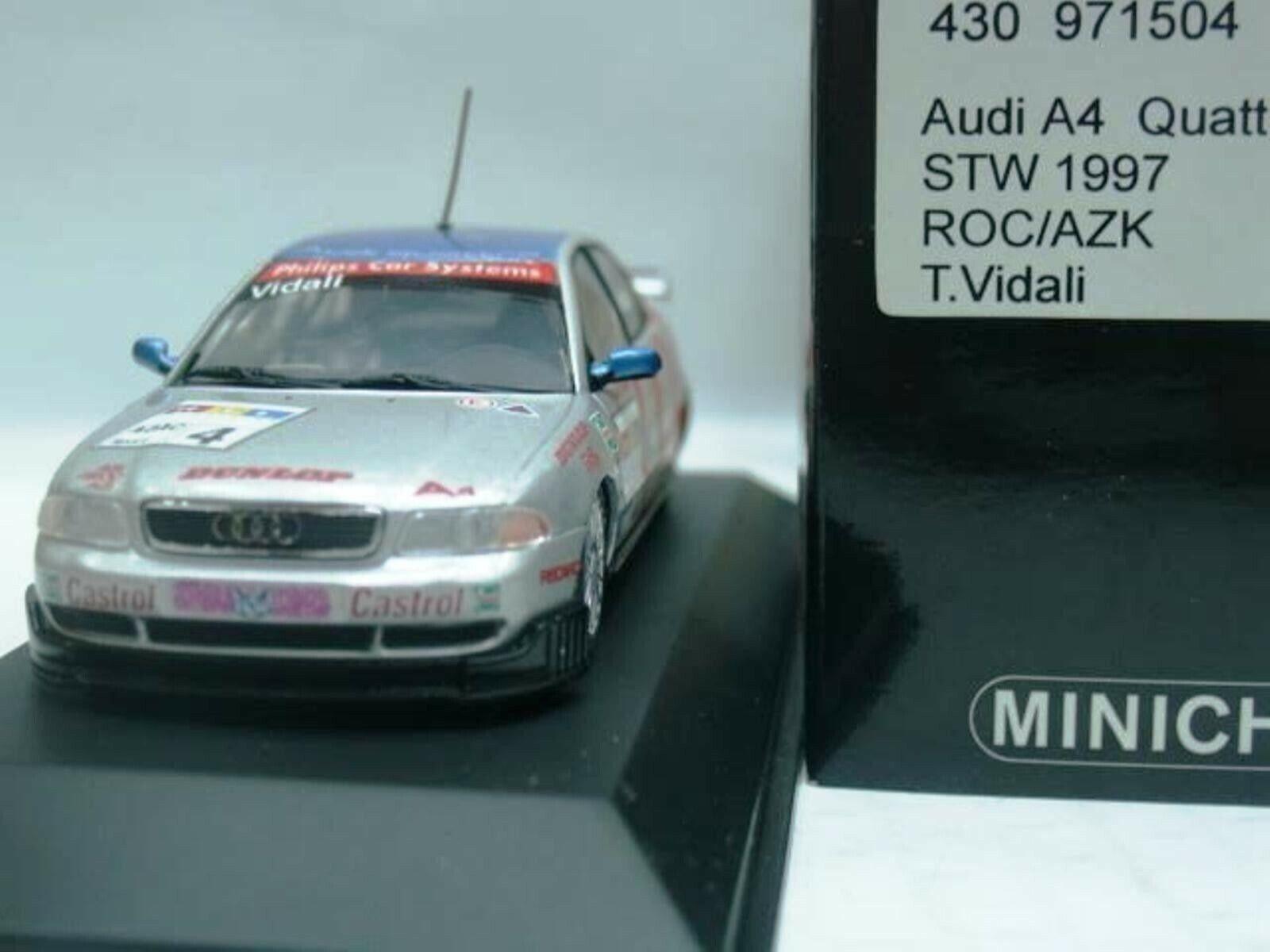 WOW estremamente raro AUDI A4 quattro 1997  4 VIDALI Norisring STW 1 43 Minichamps