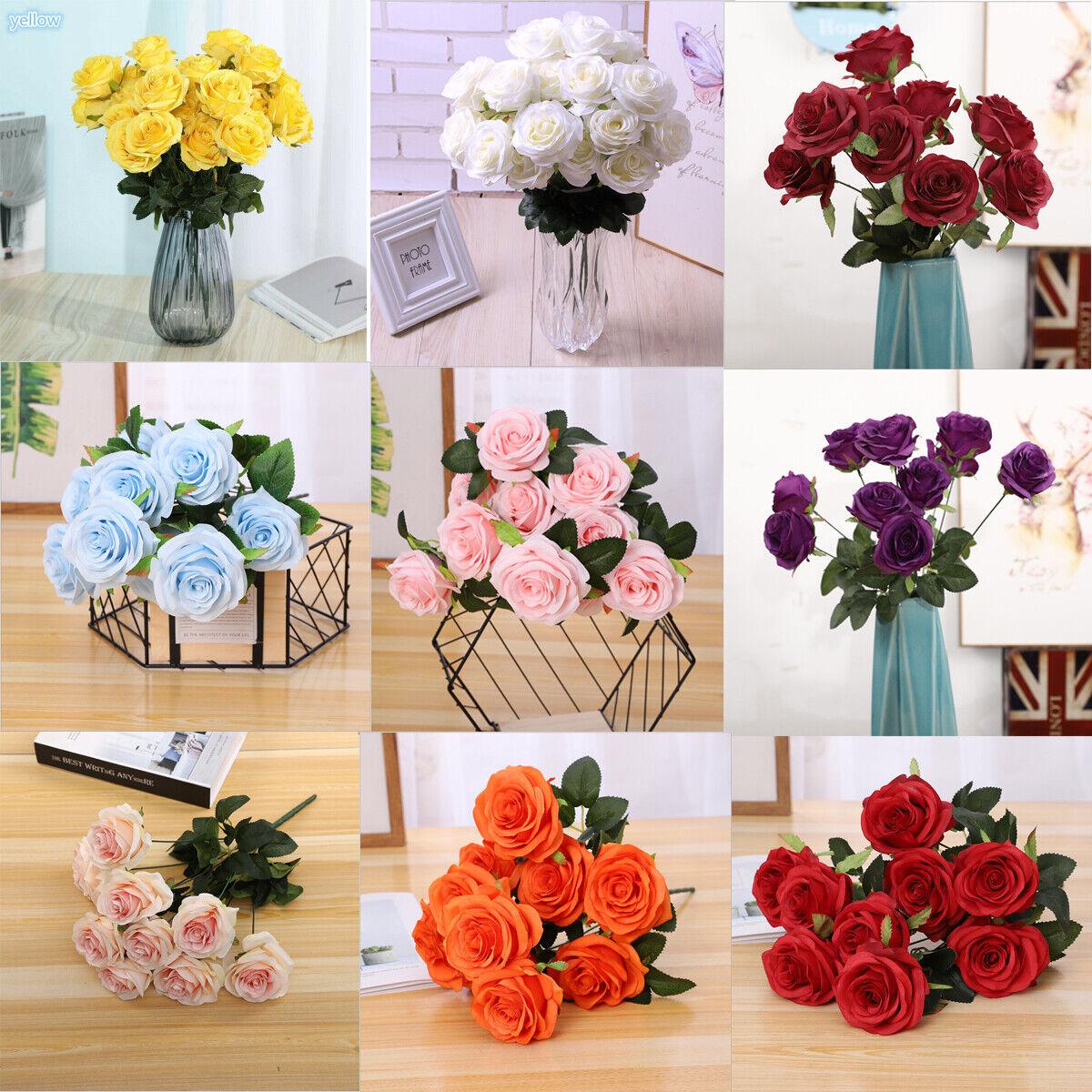 Home Decoration - 10 Heads Silk Rose Artificial Flowers Bunch Bouquet Wedding Home Party Decor UK