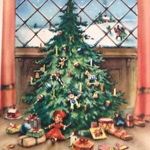 Vintage-Mid-Century-Christmas-Greeting-Card-Tree-With-Gifts-Candles
