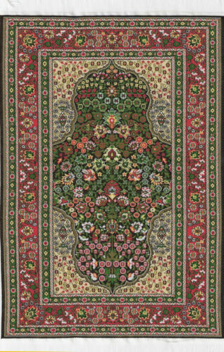 Alfombra Tejida mediano turco Rojos Verdes 25cm X 15cm casa de muñecas en miniatura piso