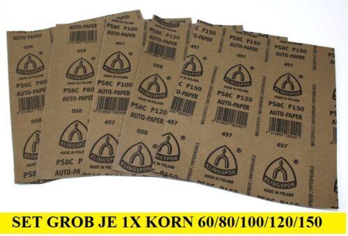 5 Arc Mix grossièrement à superfein Mouillé-Papier abrasif 230x280mm grain de sélection