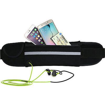Unisex Black Waist Belt Bum Bag Jogging Running Travel Pouch Keys Mobile Cash