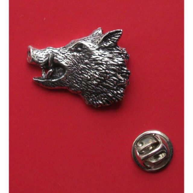 English Pewter WILD BOARS HEAD Pin Badge Tie Pin / Lapel Badge (A48)