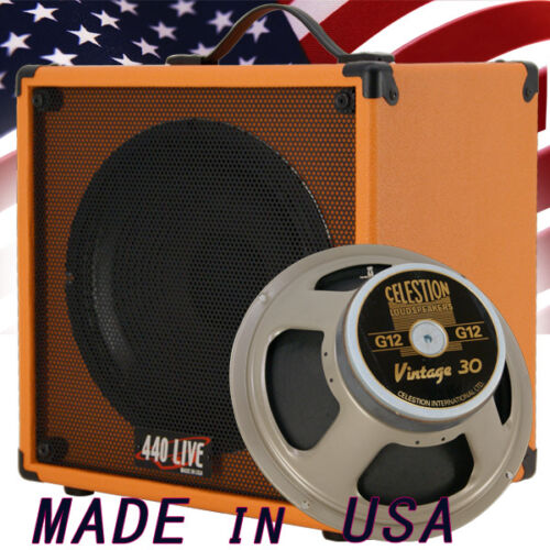 1x12 Guitar Speaker Extension Cab W// 8 Ohms CELESTION VINTAGE 30 Orange Tolex