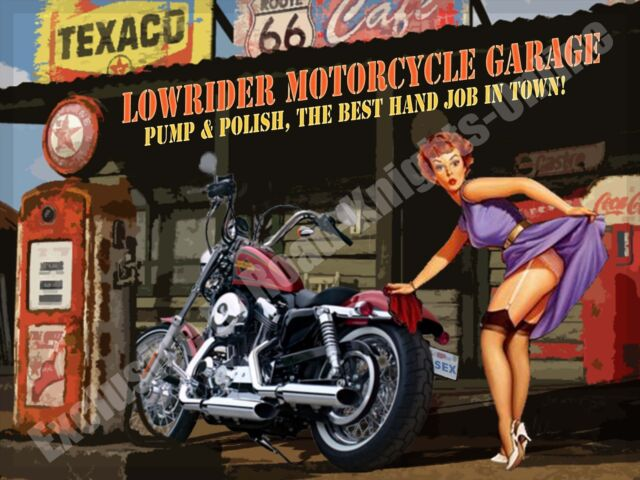 Lowrider Motorcycle Garage, Funny Crusier Motorbike Chopper Small Metal Tin Sign