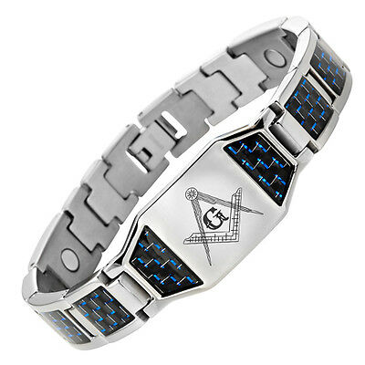 MasonicMan Titanium Magnetic Masonic Bracelet + Blue Carbon Fiber Adjuster Tool