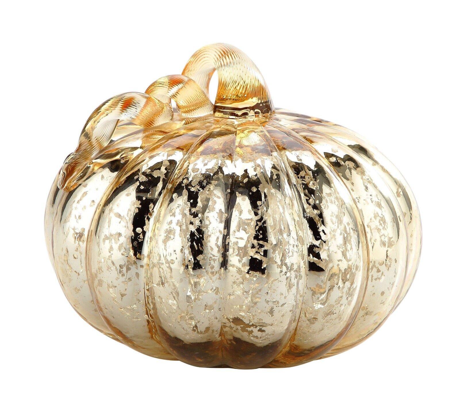 New 9  Hand Blown Art Glass Mercury Mercury Mercury Gold Pumpkin Sculpture Figurine Fall Harvest c4d464
