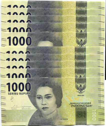 INDONESIA 1,000 1000 RUPIAH 2016 SMALL PRINT 2018 P 154 UNC LOT 10 PCS