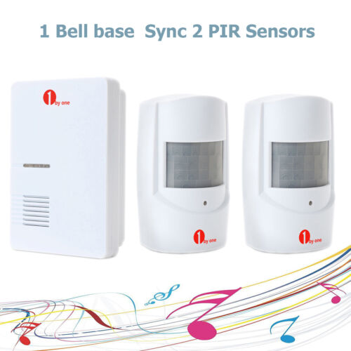 1 of 1 - WIRELESS MOTION SENSOR DETECTOR DOOR GATE ENTRY BELL CHIME ALARM SYNC 2 SENSORS