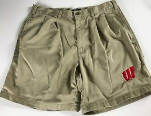 Wisconsin-Badgers-Shorts-Mens-34-Khaki-Golf-Cotton-Casual-Student-Alumni-Dockers