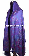Handmade Stunning MAGNOLIA 2-Ply 100% Cashmere Pashmina Shawl Wrap Scarf, Purple