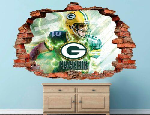 Green Bay Packers Fottball NFL Custom Smashed 3D Wall Decal Sticker Vinyl AH44