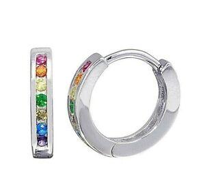 Channel-Set-Multi-Color-Sapphire-Huggie-Hoop-Earrings-in-Solid-Sterling-Silver