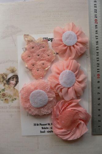 APRICOT PEACH Mix Fabric Lace Organza 5 Flower Pk 55-65mm Njoyfull Crafts H3