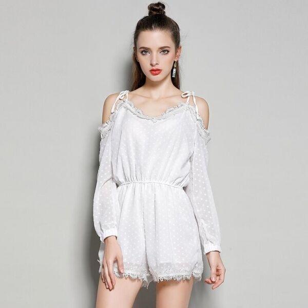 Kleid anzug frau sommer weiß komfortabel licht kurze hosen 3402 | Elegant
