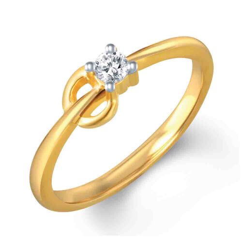 Beautiful Women/'s Round Cut Solitaire Promesse Bague 14K Or Jaune Finition 1//10Ct