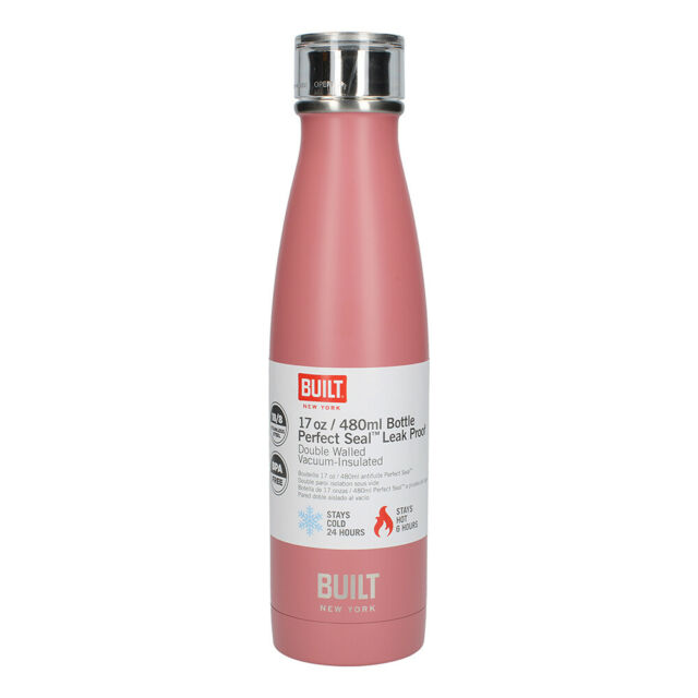 Built New York 480ml Leakproof Vacuum Insulated Double Wall Drink Bottle Pink