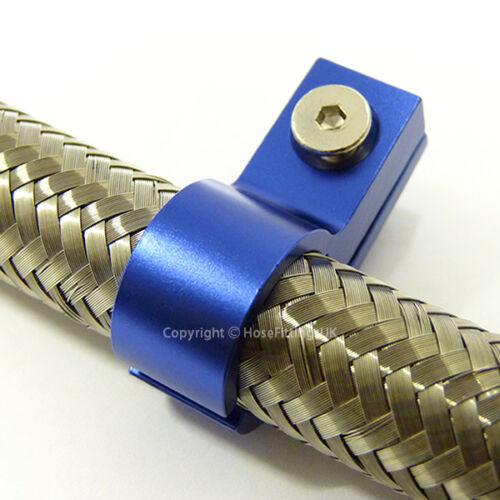 AN-6 AN6 ptfe 11MM bleu tuyau tressé unique pince clip de montage adaptateur