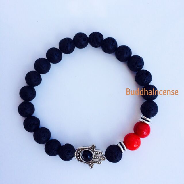 Red Unisex Lava Stone bracelet with onyx hamsa, Meditation Mala