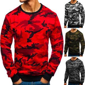 Details zu Sweatshirt Langarmshirt Pullover Pulli Army Rundhals Motiv Herren BOLF 1A1 Camo