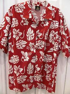 TOUCAN-DANCE-Men-039-s-Large-Hawaiian-Floral-Unisex-Red-White-Shirt