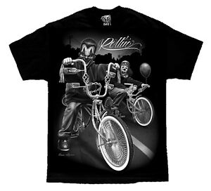 Cruising-Lowrider-Bike-IT-Clown-Joker-Cholo-Gangster-David-Gonzales-DGA-T-Shirt